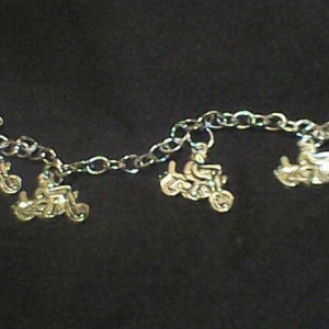 Homemade Motorcycle Jewelry set Ring, Earrings, Necklace, Bracelet Silver in Color