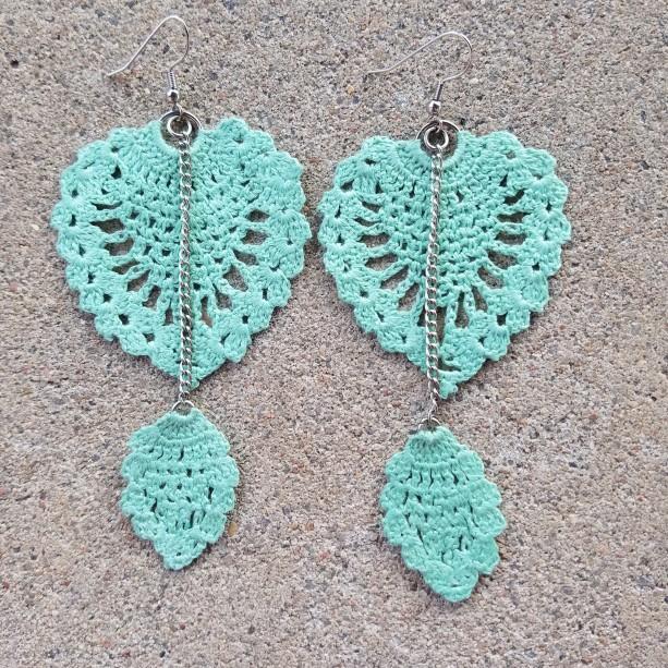 Crocheted Earrings in aqua