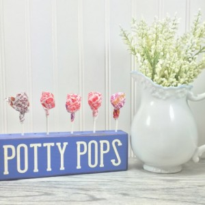 Potty pops holder, potty training reward tool, wood block, sign block, childrens bathroom, wood sign, primitive wood sign, potty suckers