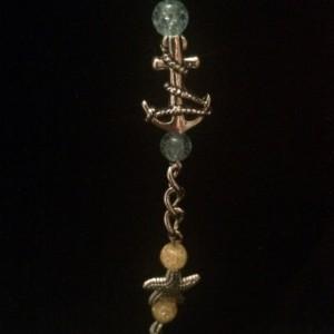 "21"" Seashore Theme Glass Beaded Necklace Lanyard ID Badge Clip"