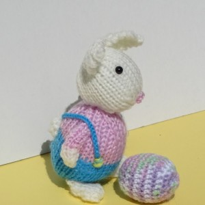 Knit Easter Bunny, Knit Easter Egg, Easter Bunny and Egg, Easter Basket Toys, Knitted Small Toys, All Handmade, Ready to Ship