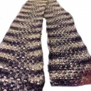 Hand Knit Scarf Blue & Silver Yarn Modified Linen Stitch