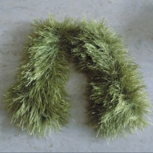 Olive Fun Fur Fingerless Gloves