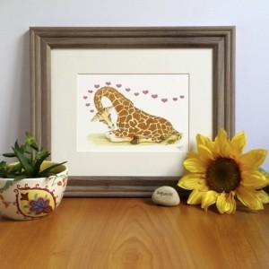 Whimsical Giraffe Art, Fine Art Print, Safari Nursery Decor, Sleeping Giraffe, Dreaming Giraffe, Giraffe Artwork, Nursery Art, Art for Kids