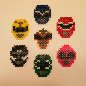 Set of Power Rangers Helmets  Magnets- Geekery- Heros- Fan Art- Comic Con 2015- Sprite Art