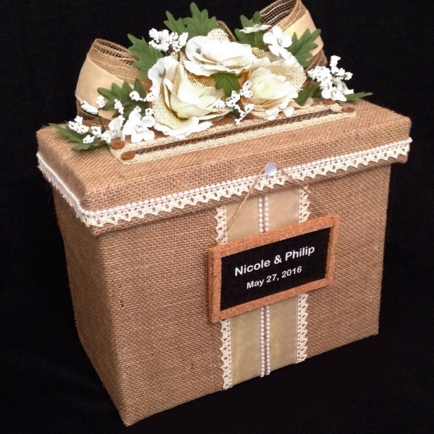 Rustic Wedding Card Box,Burlap Wedding Card Box,Card Holder,Wedding Invitation,Wedding Dress,Wedding Card Box,wedding shoes,wedding gift