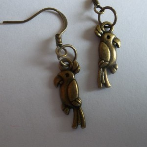 teeny tiny parrot earrings
