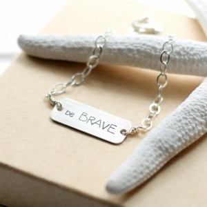 Horizontal Bar Silver Be Brave Bracelet