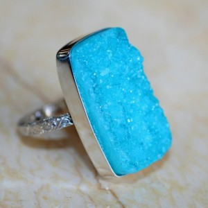 CLEARANCE BEAUTIFUL BLUE DRUZY! Solid Sterling Silver Ring / Finger Size 6.5