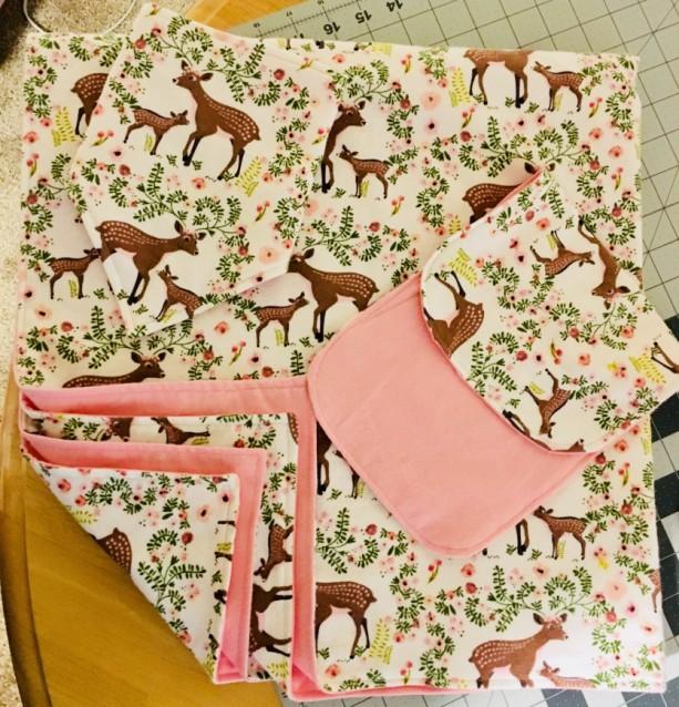 Hand-made Baby Blanket, Burp Cloth, and Bandana-Style Bib set