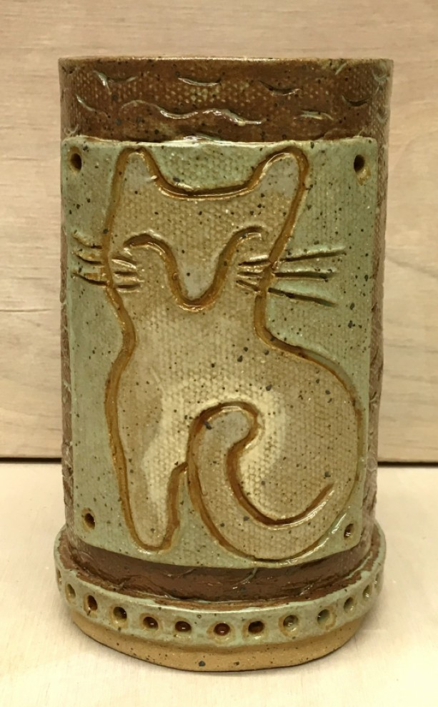 Textured Handbuilt Cat Mug