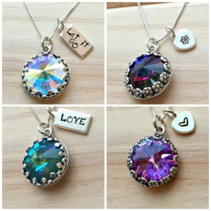 Swarovski Crystal and Sterling Silver Custom Stamped Necklace
