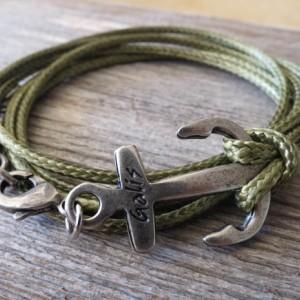 Men Bracelet - Men Anchor Bracelet - Men Jewelry - Men Vegan Bracelet - Men Gift - Boyfriend Gift - Husband Gift - Present For Man - Male