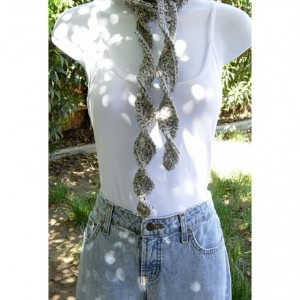 Women's Light Gray Tweed Skinny SUMMER SCARF Small Soft Spiral Knit Narrow Lightweight Twisted Crochet Necklace, Ready to Ship in 2 Days
