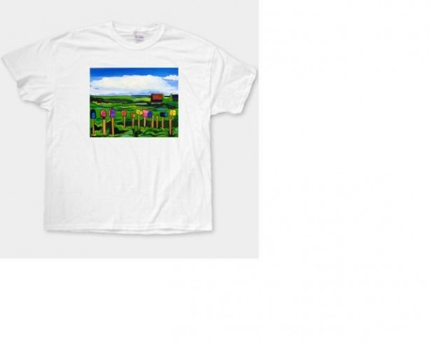 "Folk Art- ""Mailboxes"" - 100% Cotton T-Shirt for Men, Women/Children by A.V.Apostle"