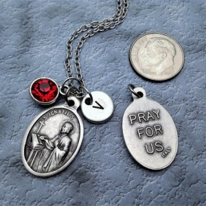 Personalized Saint Ignatius Necklace. Patron Saint of Soldiers and Jesuits