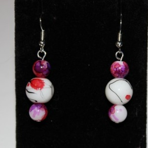 Three bead dangle earrings
