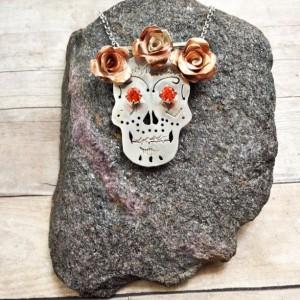 Sterling Silver and Copper Calavera Sugar Skull Necklace