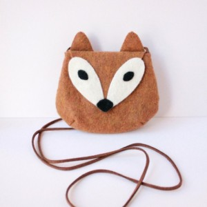 Fox Wool Felt Purse
