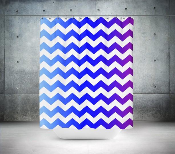 Blue & Violet Chevron Shower Curtain