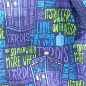 Doctor Who Printed Cotton Scrunchy Shoulder Purse- OoaK