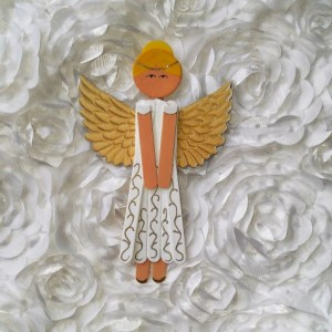Wooden Angel Art / White Dress with Golden Wings and Accents / Wooden Hanging Angel Decoration / Personalized Angel Art