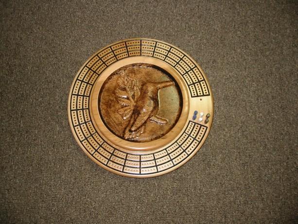Hummingbird  3 track round cribbage board with storage