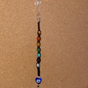 7 Stone Chakra & Evil Eye Knotted Keychain, Macrame Beaded Zipper Clip For Backpacks and Bags, Purse Charm, Lanyard Clip Gemstone Keychain