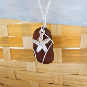 Amber brown sea glass necklace with starfish charm, amber sea glass jewelry,starfish necklace, sea glass necklace, amber sea glass,