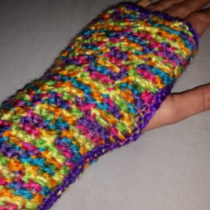 Bright Fingerless Gloves-Crocheted