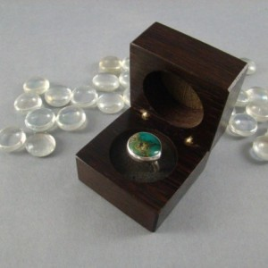 Wood Ring Box with inlaid Acanthus leaf. Free Shipping and Engraving.  RB6