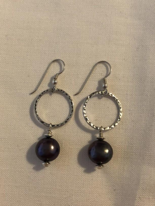 Sterling silver dangle hoop earrings with freshwater peacock pearls