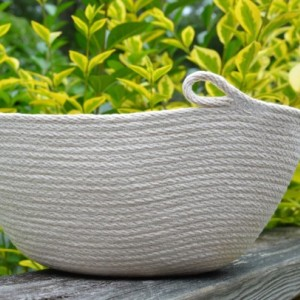 coiled rope basket - large oval basket