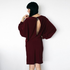 Draped Burgundy Cocktail Dress with Open Keyhole Back and Oversize Dolman Sleeves