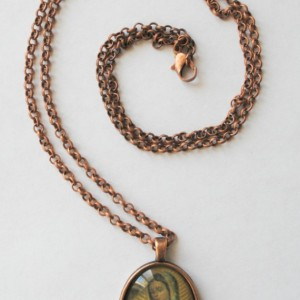 Virgin of Guadalupe oval pendant and necklace, copper