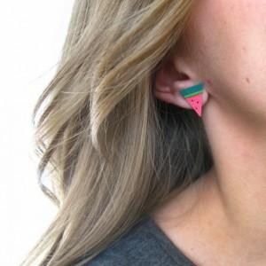 Leather Foodie Earrings | Cheese Earrings | Pizza Earrings | Watermelon Earrings | Leather Stud Earrings | Emoji Jewelry | Cheesehead