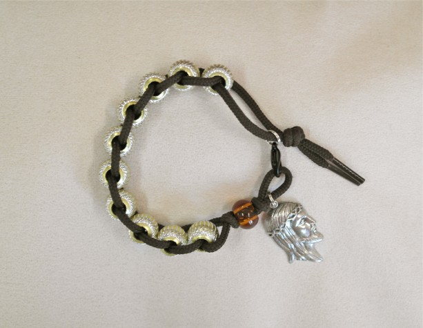 St. Therese Sacrifice Bracelet of Incised Aluminum Beads