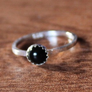 Sterling Silver and Black Onyx Cabochon Ring, Black Onyx Sterling Ring, Onyx Cabochon Ring, Stackable Sterling and Onyx Ring