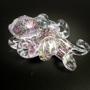 The Angry Purple CFL Color Changing  Kracken Collectible Wearable Boro Glass Octopus Necklace / Sculpture Made to Order