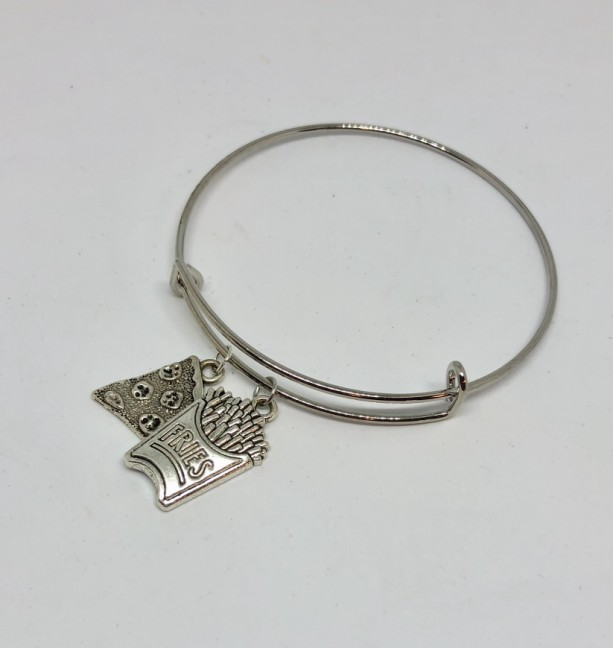 Pizza Slice and French Fries Junk Food Bangle Charm Bracelet