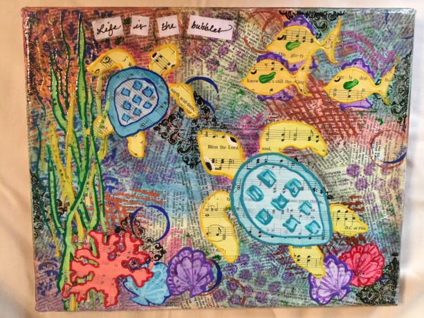 Mixed media Life is the Bubbles Sea Turtles