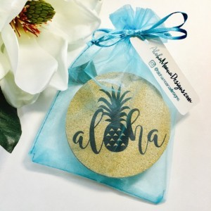 Hawaii Aloha Leaf Set ~ Hawaii Coaster ~ Aloha Coaster ~ Palm Frond Coaster ~ Tropical Leaf Coaster ~ Hawaii Coaster Set ~ Monstera Coaster