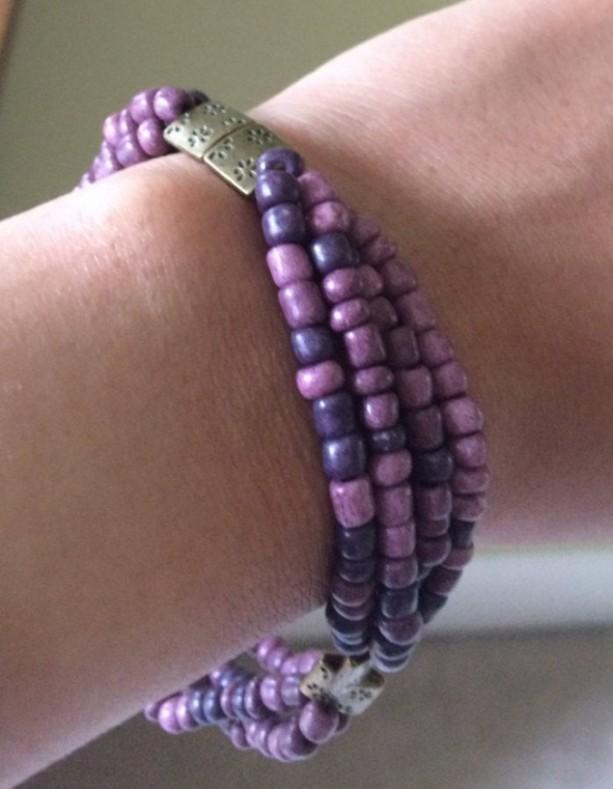 9 Inch Dark Purple Glass Bead Bracelet