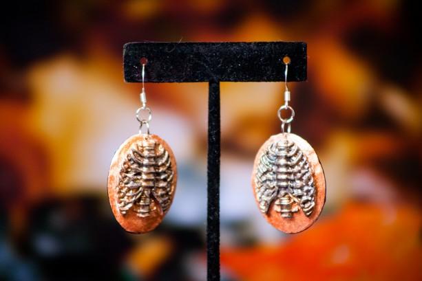 Ribcage cameo dangle earrings