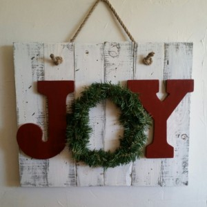 Rustic, handmade JOY sign for Christmas