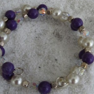 Beaded Bracelet Purple and Crystals