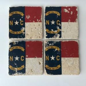 North Carolina State Flag Natural Stone Coasters, Set of 4 with Full Cork Bottom