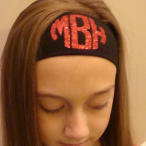 Monogrammed Initial Headband Personalized Gift Idea School Custom Boutique Monogram Head Band Girls Uniform Glitter Vinyl Letter