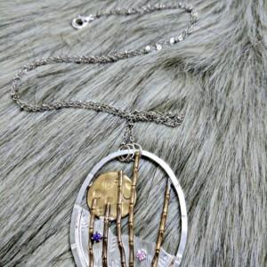 Silver Floral Bamboo Zen Garden Necklace