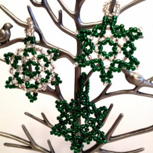 3 Beaded Snowflake Ornaments,  Green, Silver Handmade Seed Bead Christmas Ornament, Christmas Tree Decoration, Holiday Ornament, Christmas Gift